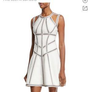 Herve Leger Honeycomb Jacquard Fit & Flare Dress